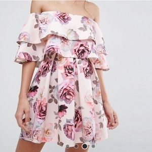 ASOS strapless ruffle floral scuba dress